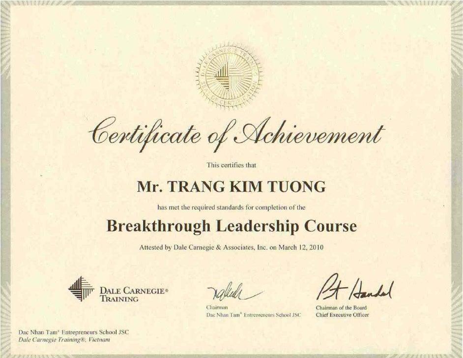 Breakthrough Leadership Course Certificate