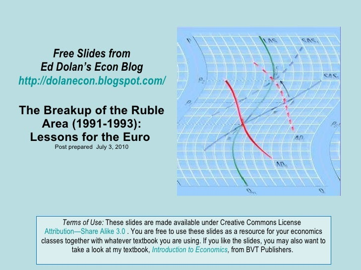 Free Slides from Ed Dolan's Econ Blog http://dolanecon.blogspot.com/ The Breakup of the Ruble Area (1991-1993): Lessons fo...