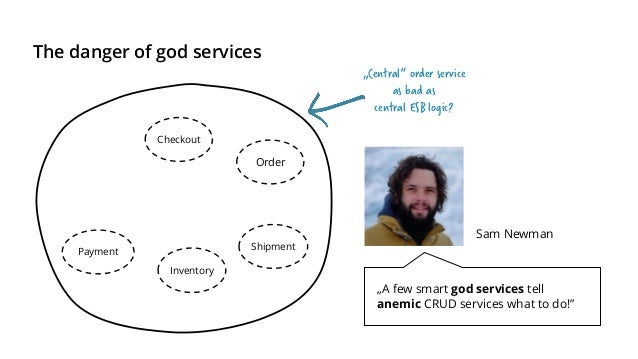 """A god service is only created with bad API design Checkout Payment Inventory Shipment Order """"Smart endpoints and dumb pipe..."""
