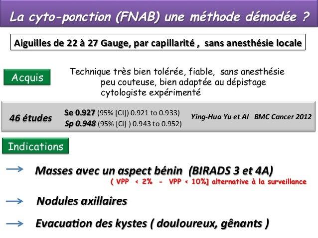 La cyto-ponction (FNAB) une méthode démodée ? Aiguilles  de  22  à  27  Gauge,  par  capillarité  ,    ...
