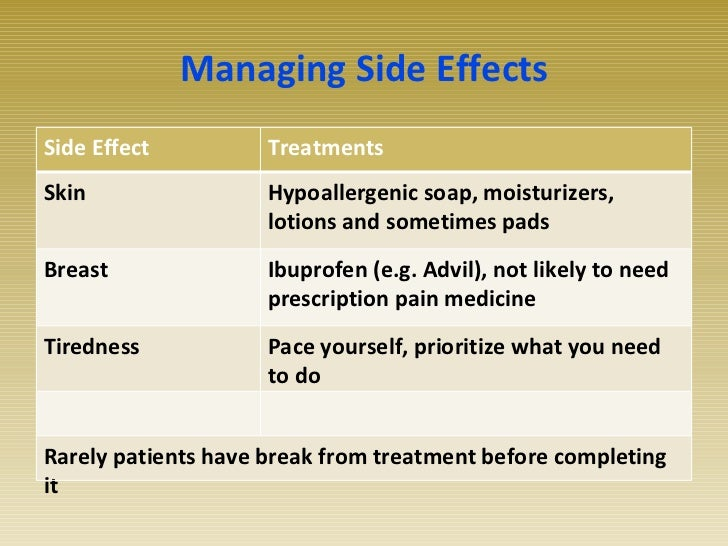 Breast cancer radiation therapy side effects
