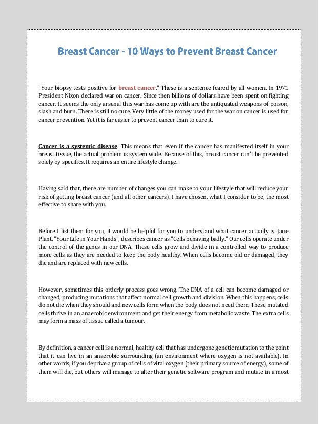 """""""Your biopsy tests positive for breast cancer."""" These is a sentence feared by all women. In 1971President Nixon declared w..."""