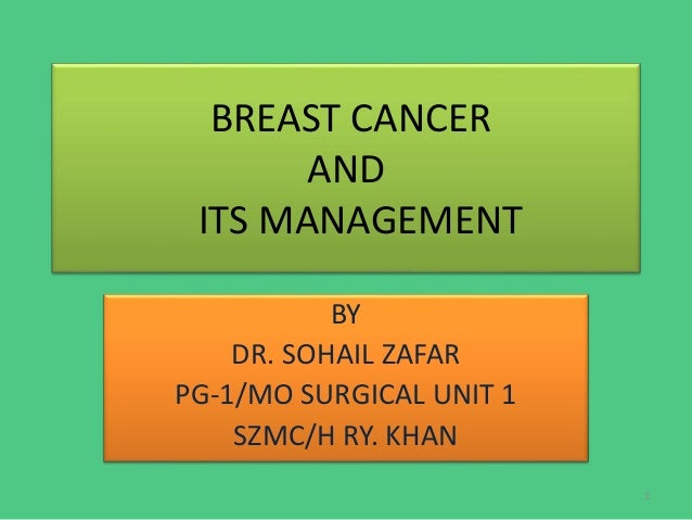 BREAST CANCER AND ITS MANAGEMENT BY DR. SOHAIL ZAFAR PG-1/MO SURGICAL UNIT 1 SZMC/H RY. KHAN 1