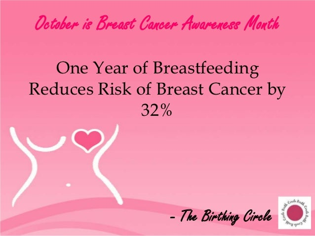 October is Breast Cancer Awareness Month   One Year of BreastfeedingReduces Risk of Breast Cancer by              32%     ...