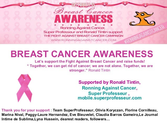 cb05e519d8 Breast Cancer Awareness Month 2017 in October - Fight Against Breast Cancer!  Supported by Ronald Tintin