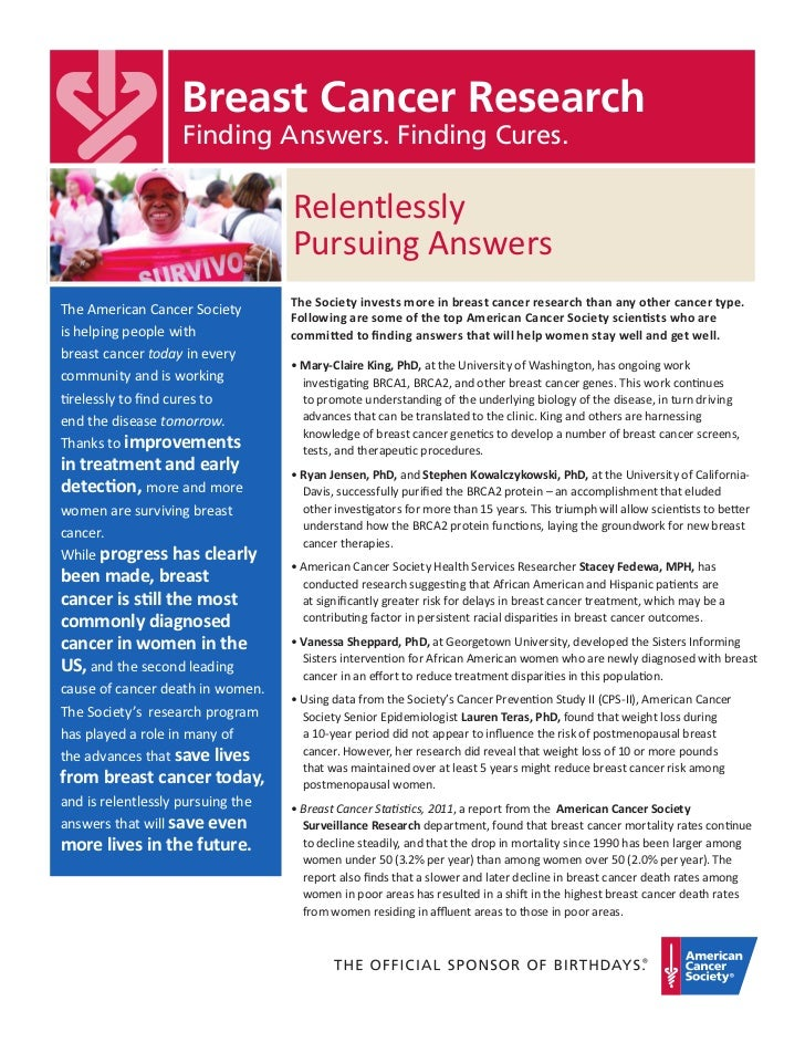 Breast Cancer Research                    Finding Answers. Finding Cures.                                   Relentlessly  ...