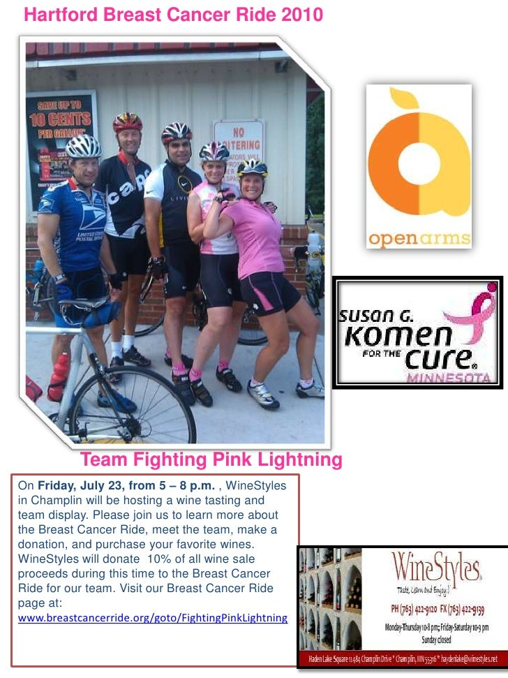 Hartford Breast Cancer Ride 2010<br />Team Fighting Pink Lightning <br />On Friday, July 23, from 5 – 8 p.m. , WineStyles ...