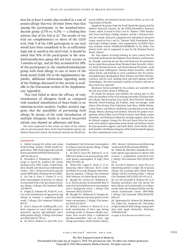 n engl j med 374;18nejm.org May 5, 2016 1743 Trial of Allergenic Foods in Breast-Fed Infants tion for at least 4 weeks a...