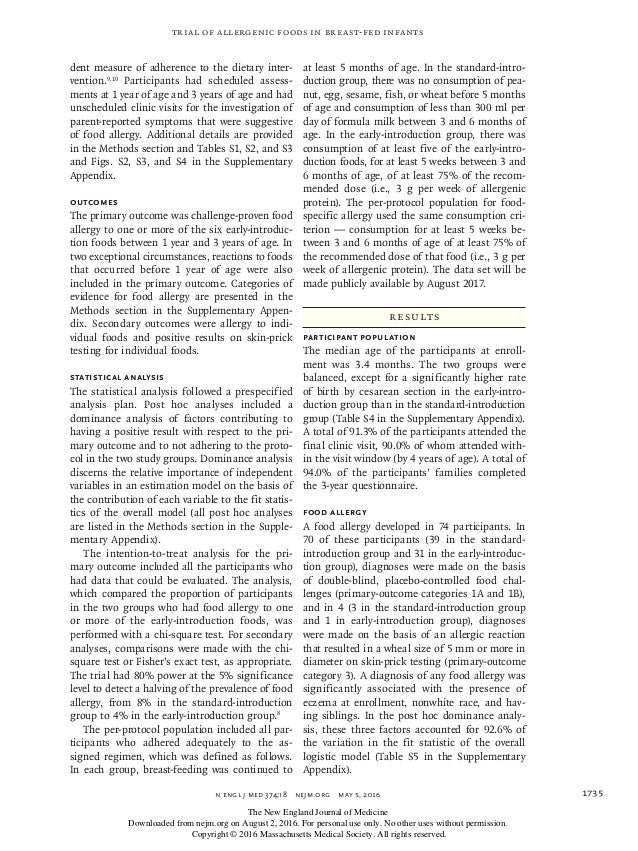 n engl j med 374;18nejm.org May 5, 2016 1735 Trial of Allergenic Foods in Breast-Fed Infants dent measure of adherence t...