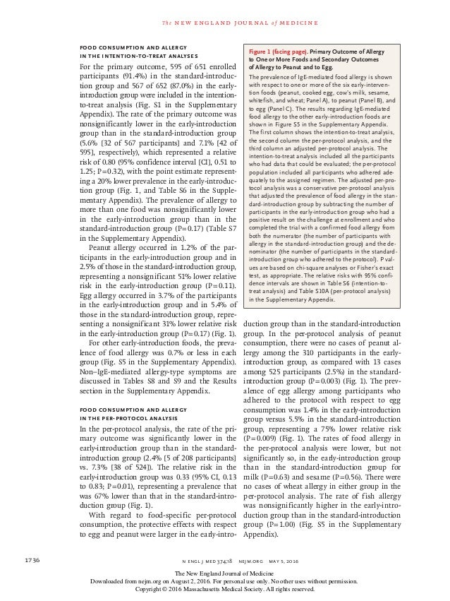 n engl j med 374;18nejm.org May 5, 20161736 The new engl and jour nal of medicine Food Consumption and Allergy in the In...