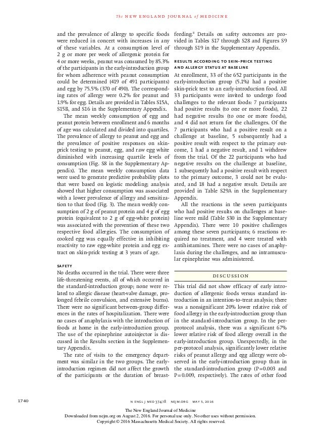 n engl j med 374;18nejm.org May 5, 20161740 The new engl and jour nal of medicine and the prevalence of allergy to speci...