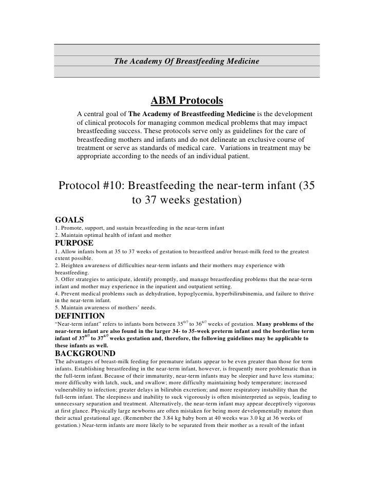 The Academy Of Breastfeeding Medicine                                            ABM Protocols          A central goal of ...