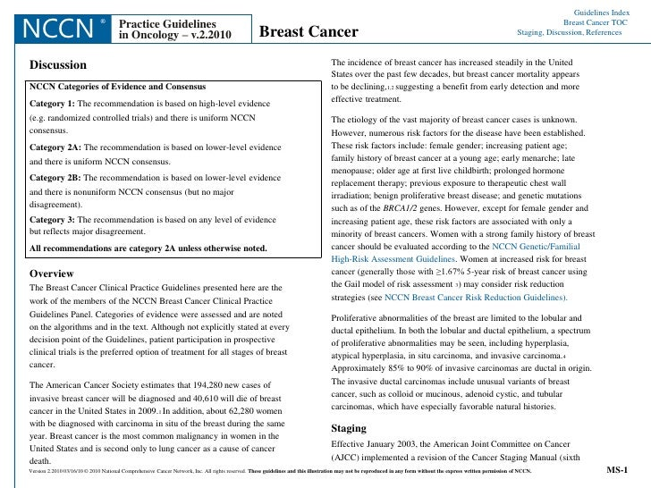 Guidelines Index<br />	Breast Cancer TOC<br />Staging, Discussion, References<br />NCCN<br />®<br />Practice Guidelines<br...