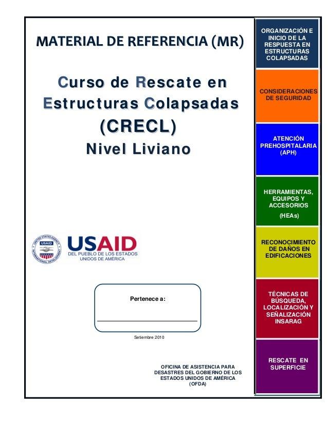 MATERIALDEREFERENCIA(MR) Curso de Rescate en Estr ucturas Colapsadas  (CRECL)  Nivel Liviano  ORGANIZACIÓN E INICIO ...
