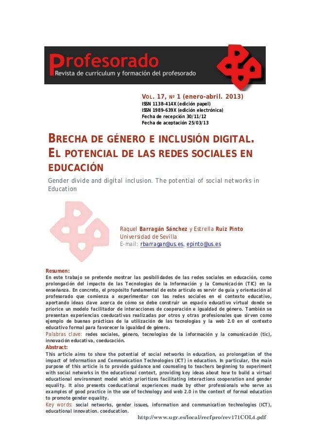 V OL . 17,  Nº  1 (enero-abril. 2013)  ISSN 1138-414X (edición papel) ISSN 1989-639X (edición electrónica) Fecha de recepc...