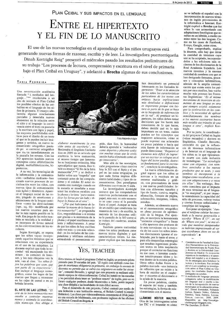 Impacto de Plan Ceibal en la Lectura y Escritura.
