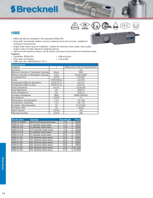 Brecknell B9E-N10-65K-9F 1 pc B9E 65Klb Stainless Dual Shear Beam Load Cell