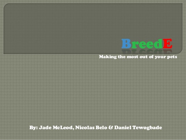 BreedE                         Making the most out of your petsBy: Jade McLeod, Nicolas Belo & Daniel Tewogbade