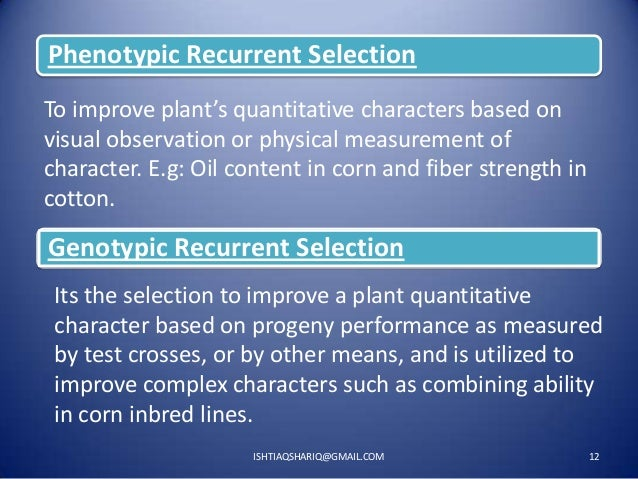 Phenotypic Recurrent Selection To improve plant's quantitative characters based on visual observation or physical measurem...