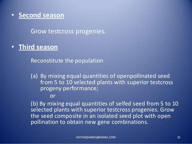 • Second season Grow testcross progenies.  • Third season Reconstitute the population (a) By mixing equal quantities of op...