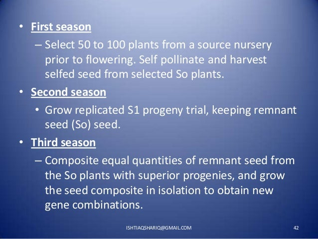• First season – Select 50 to 100 plants from a source nursery prior to flowering. Self pollinate and harvest selfed seed ...