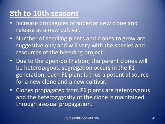 8th to 10th seasons • Increase propagules of superior new clone and release as a new cultivar. • Number of seedling plants...