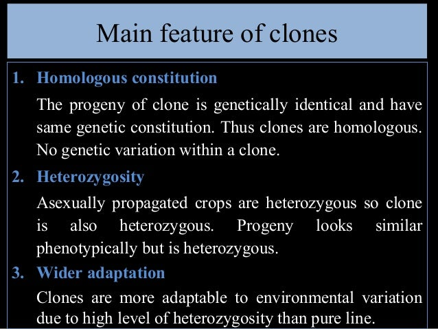Characteristics of asexually propagated crops