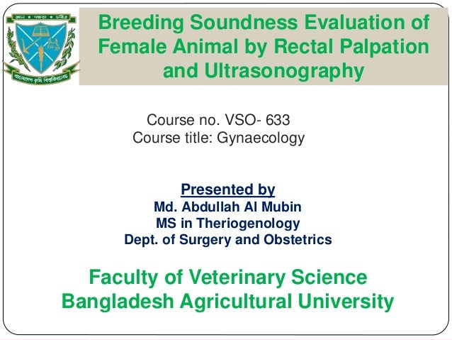 Course no. VSO- 633 Course title: Gynaecology Breeding Soundness Evaluation of Female Animal by Rectal Palpation and Ultra...