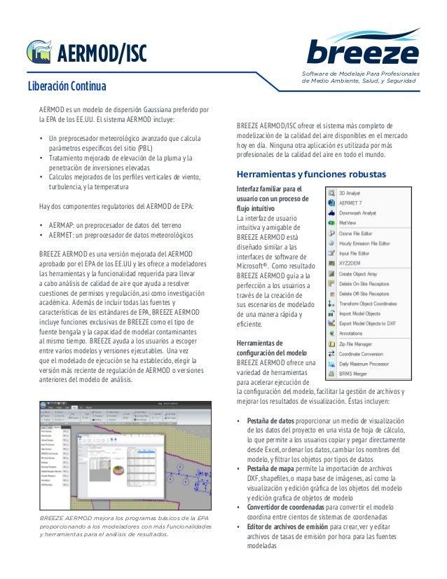 Liberación Continua Software de Modelaje Para Profesionales de Medio Ambiente, Salud, y Seguridad AERMOD es un modelo de d...