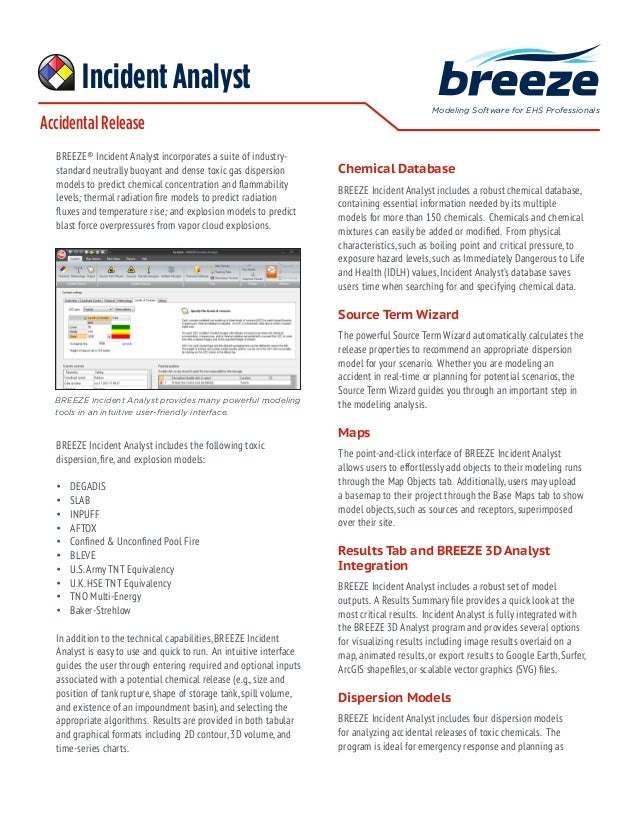 Accidental Release Modeling Software for EHS Professionals BREEZE® Incident Analyst incorporates a suite of industry- stan...