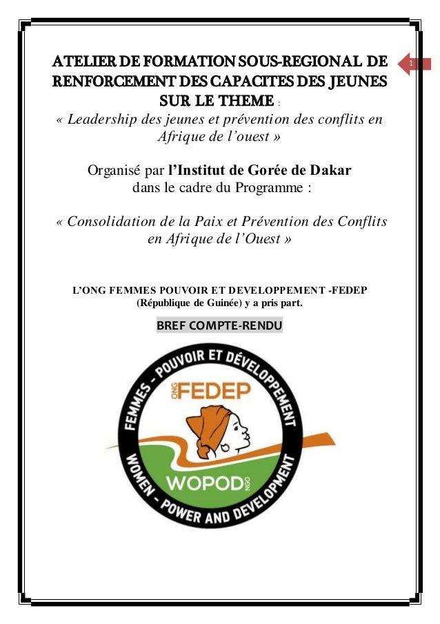 1ATELIER DE FORMATION SOUS-REGIONAL DE RENFORCEMENT DES CAPACITES DES JEUNES SUR LE THEME : « Leadership des jeunes et pré...