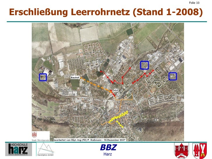 Folie 10   Erschließung Leerrohrnetz (Stand 1-2008)                       BBZ                    Harz