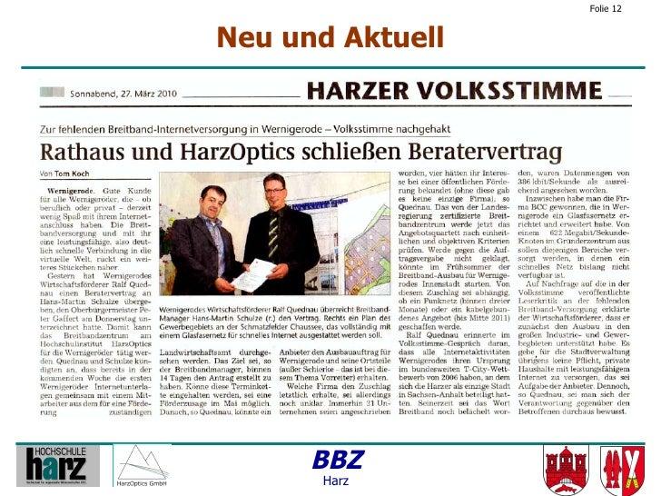 Folie 12   Neu und Aktuell           BBZ        Harz