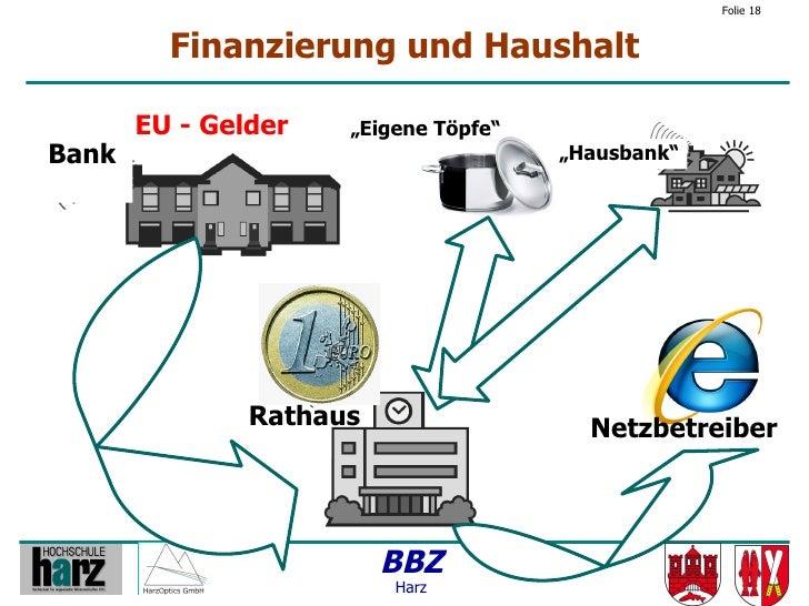 """Folie 18            Finanzierung und Haushalt         EU - Gelder   """"Eigene Töpfe"""" Bank                                  """"..."""