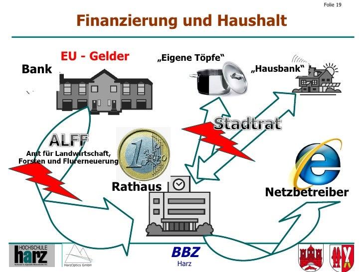 """Folie 19            Finanzierung und Haushalt         EU - Gelder   """"Eigene Töpfe"""" Bank                                  """"..."""