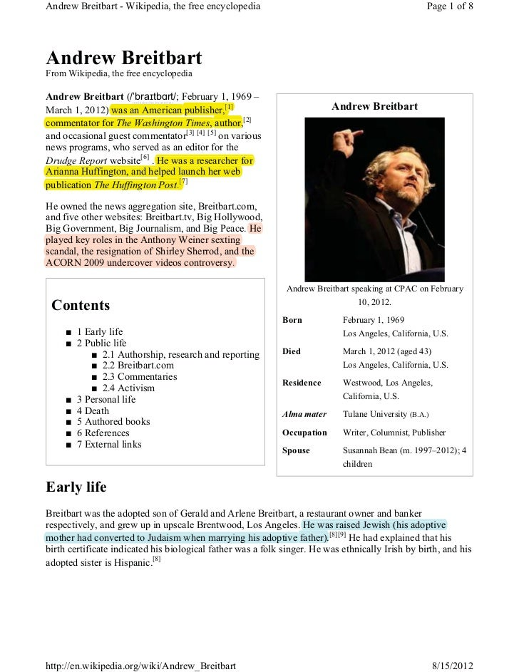 Andrew Breitbart - Wikipedia, the free encyclopedia                                                Page 1 of 8Andrew Breit...