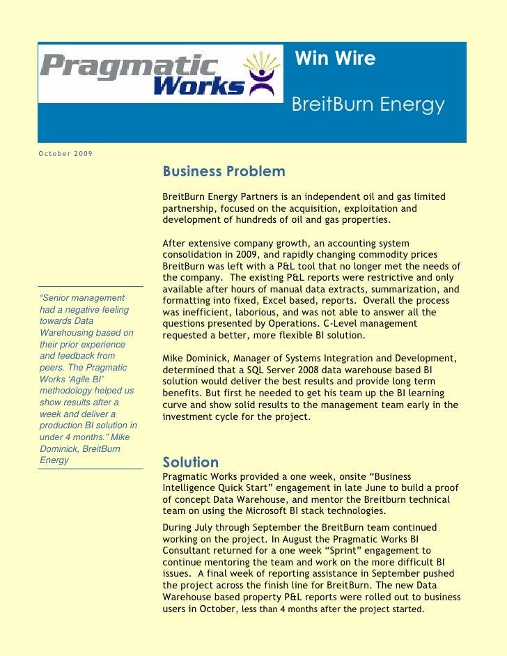 Win Wire                                                          BreitBurn Energy  October 2009                          ...