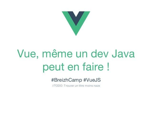 Vue, même un dev Java peut en faire ! #BreizhCamp #VueJS //TODO: Trouver un titre moins naze
