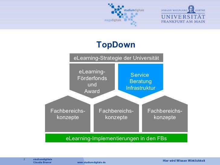 TopDown eLearning- Förderfonds und Award Service  Beratung Infrastruktur eLearning-Strategie der Universität Fachbereichs-...