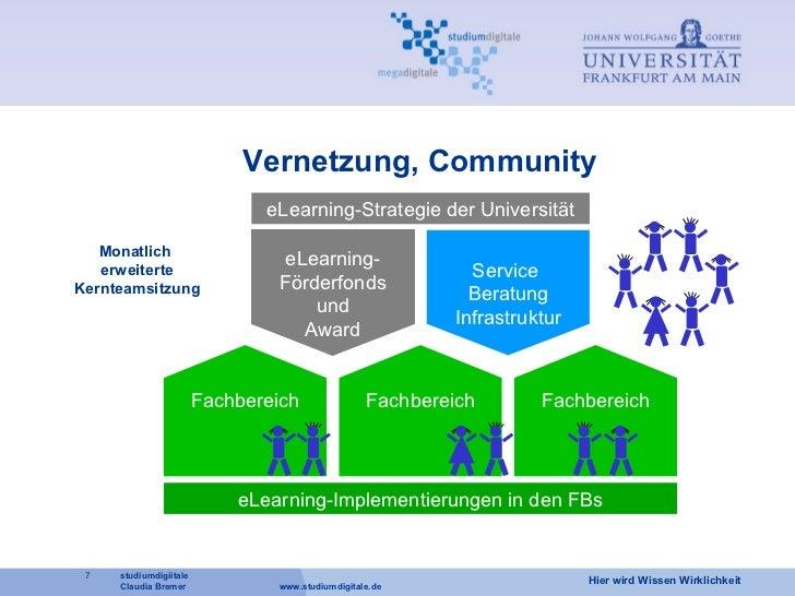 Vernetzung, Community eLearning- Förderfonds und Award Service  Beratung Infrastruktur eLearning-Strategie der Universität...