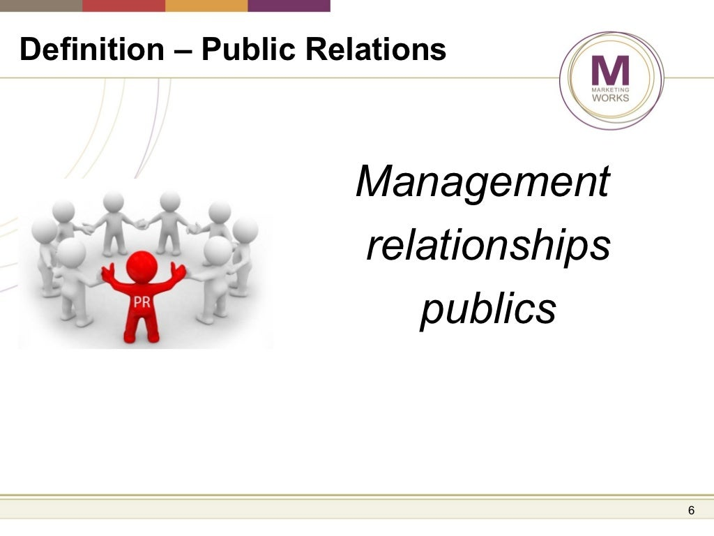 defining public relations Excellent international public relations is integrated, meaning that worldwide, practitioners report to the public relations department at headquarters and work under a single umbrella (as opposed to, for example, public relations in one country under marketing, in another country under human resources, etc.