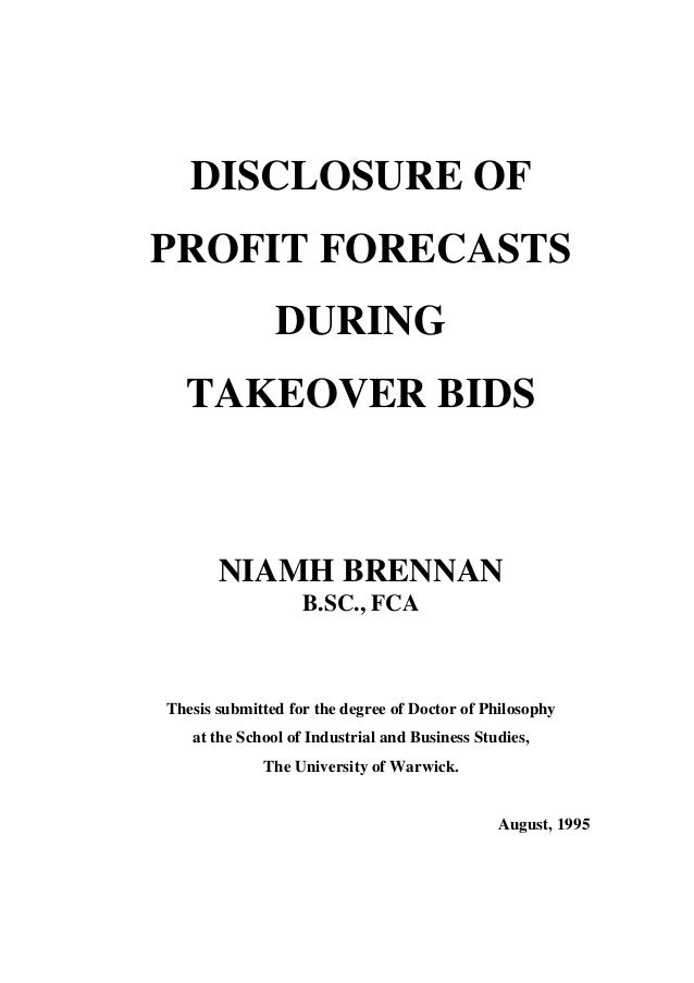 brennan niamh disclosure of profit forecasts during takeover