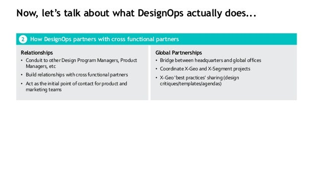 Now, let's talk about what DesignOps actually does... How DesignOps partners with cross functional partners2 Relationships...