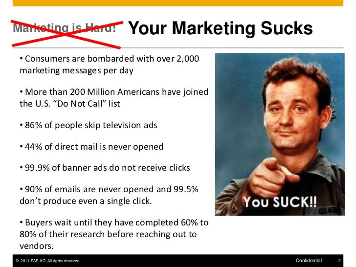 Marketing is Hard!                    Your Marketing Sucks  • Consumers are bombarded with over 2,000  marketing messages ...