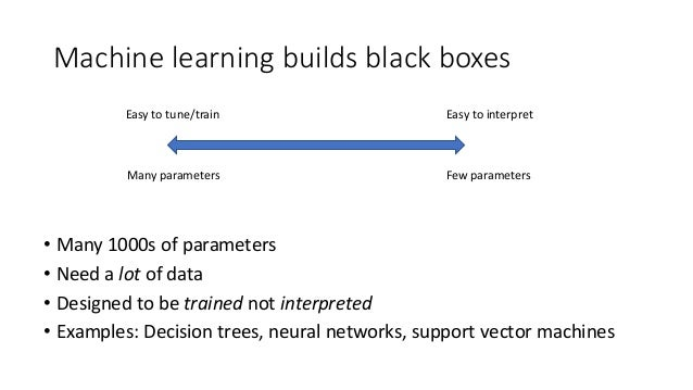 Machine learning builds black boxes • Many 1000s of parameters • Need a lot of data • Designed to be trained not interpret...