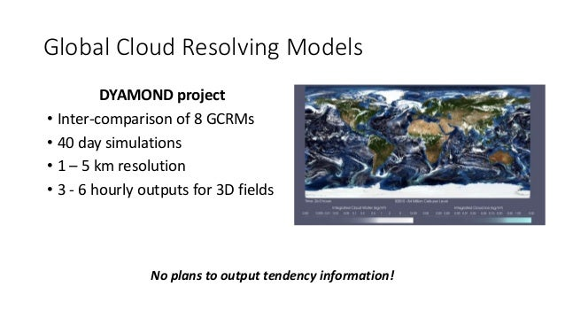 Global Cloud Resolving Models DYAMOND project • Inter-comparison of 8 GCRMs • 40 day simulations • 1 – 5 km resolution • 3...