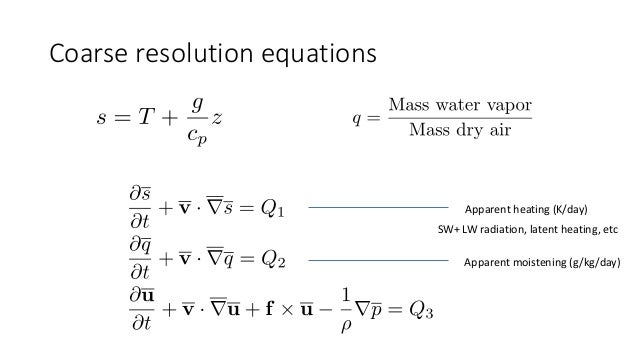 Coarse resolution equations Apparent heating (K/day) Apparent moistening (g/kg/day) SW+ LW radiation, latent heating, etc