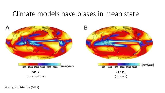 Climate models have biases in mean state CMIP5 (models) GPCP (observations) Hwang and Frierson (2013)