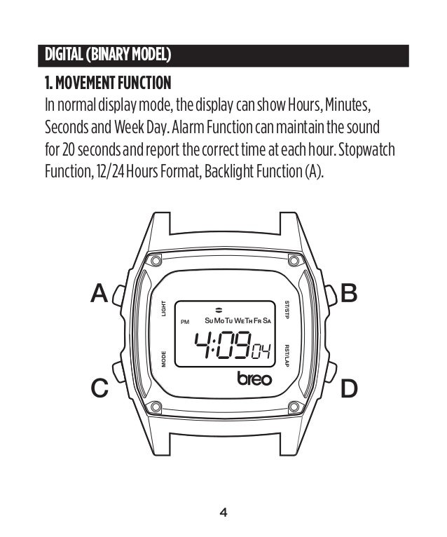 Breo Binary Watch Instructions