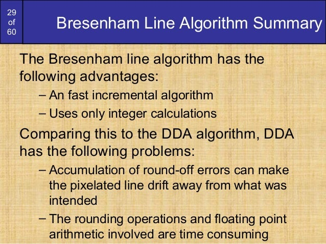 Dda Line Drawing Algorithm Problems : Bresenham circles and polygons derication